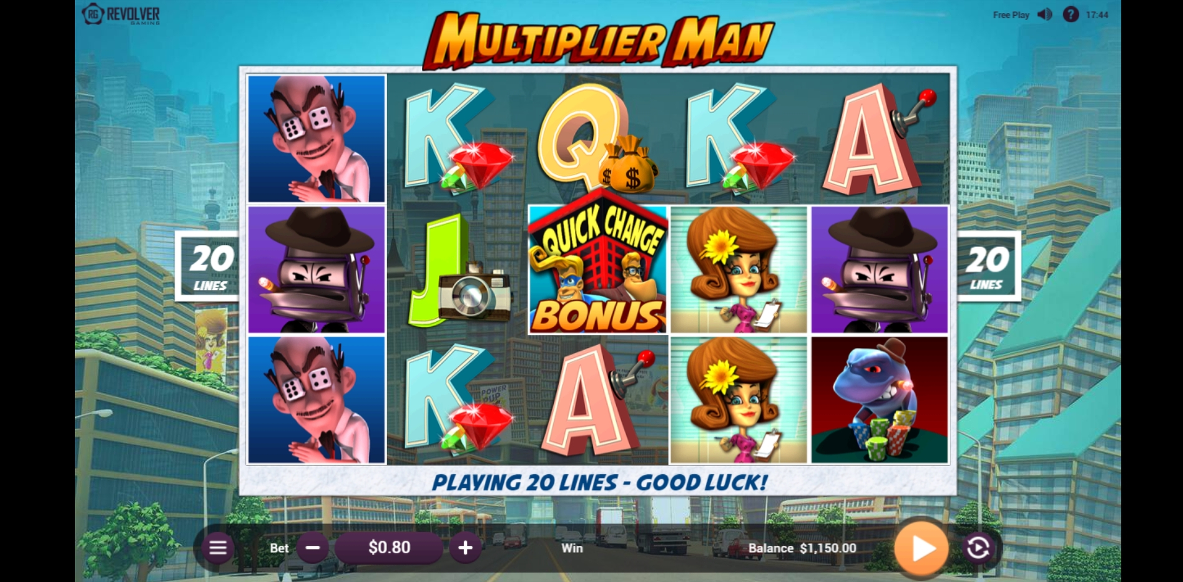 Reels in Multiplier Man Slot Game by Revolver Gaming