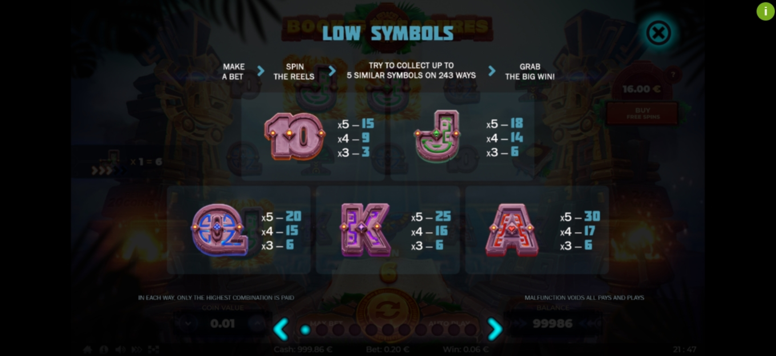 Info of Book of Treasures	 Slot Game by Thunderspin